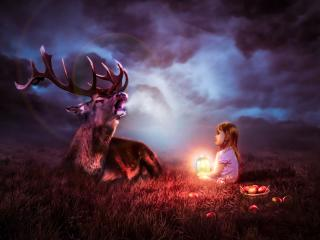 Lantern Child with a Deer in the Night wallpaper