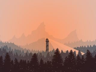 Lighthouse in Snow wallpaper