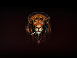 Lion Smoking Digital Art wallpaper