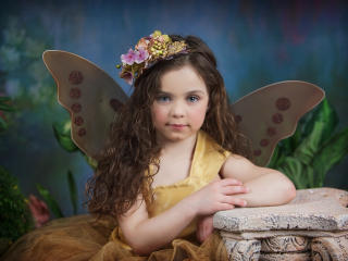 Little Girl Butterfly Photoshoot Portrait wallpaper
