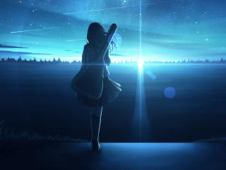 Lonely Anime Girl in Sunset wallpaper