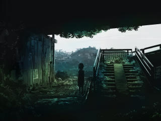 Lonely Girl In Ruined City wallpaper