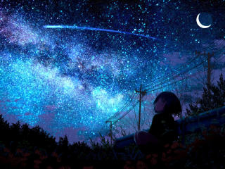 Lonely Girl Starring Shooting Star wallpaper