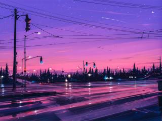 Lonely Street Lights Road wallpaper