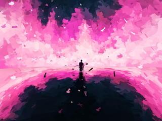 Lonely World Paint Art wallpaper