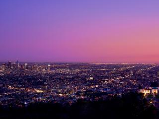 Los Angeles at Night Pink Sky wallpaper