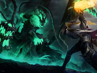 Lucian vs Thresh LoL wallpaper