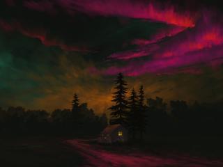 Magenta Aurora Landscape wallpaper