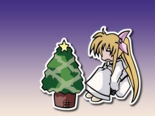 magical girl lyrical nanoha, toon, christmas tree wallpaper