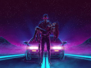 Man Carrying A Girl Neonwave wallpaper