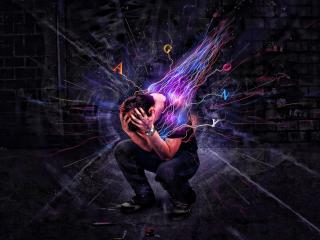 man, emotions, explosion wallpaper