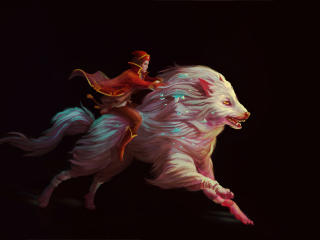 Man Riding a White Wolf wallpaper