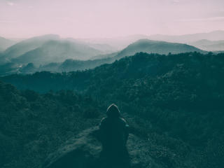 Man Sitting On Mountains Top Art wallpaper