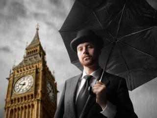 man, umbrella, london wallpaper