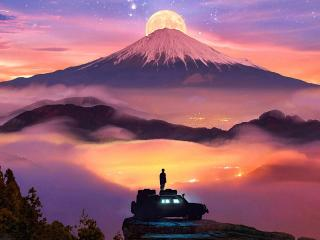 Man Watching Moon Rising Over Mountains wallpaper