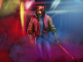 Man With Neon Tiger Synthwave wallpaper