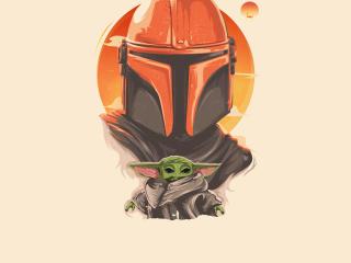 Mandalorian and Baby Yoda Art 4K wallpaper