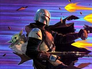 Mandalorian and Baby Yoda Fortnite Digital Art Wallpaper