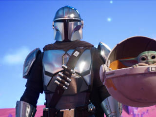 Mandalorian and Baby Yoda Fortnite wallpaper