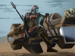 Mandalorian and Grogu Riding wallpaper