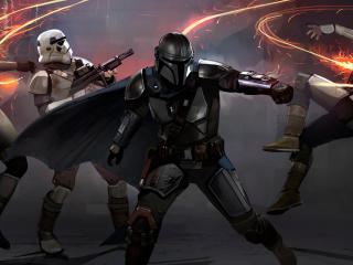 Mandalorian Stormtrooper Fighting wallpaper