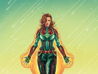 Marvel Captain Marvel Fan Illustration wallpaper