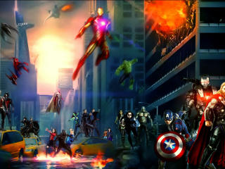 Marvel Cinematic Universe Superhero Artwork wallpaper
