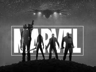MARVEL Guardians Of The Galaxy Black and White wallpaper