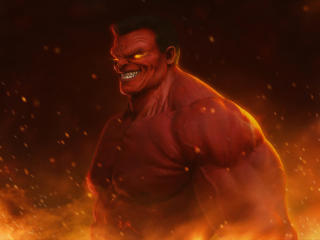 Marvel Red Hulk Art 4K wallpaper