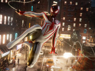 Marvels Spiderman Miles Morales White Suit wallpaper