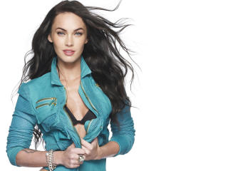 Megan Fox in Blue Jacket   wallpaper