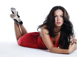Megan Fox Lovely Red Dress wallpapers wallpaper