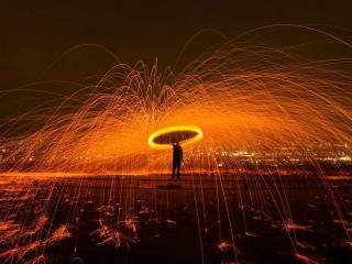 Men Magic Burn Fire Sparkles Sparks wallpaper
