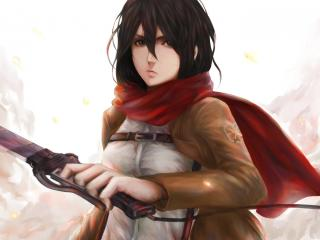 mikasa ackerman, shingeki no kyojin, art wallpaper