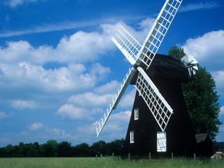 mill, field, summer wallpaper