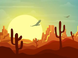 Minimalist Desert at Sunset wallpaper