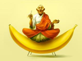 Monk Is Sitting On Banana Funny wallpaper