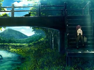 monogatari, girl, landscape wallpaper