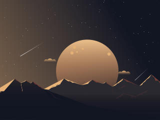 HD Wallpaper | Background Image Moon and Mountains