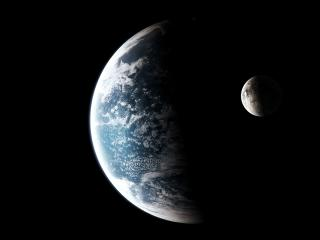 Moon and Planet from Space wallpaper