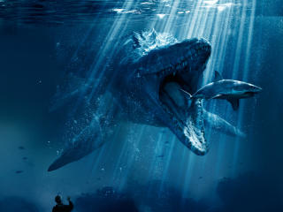 Mosasaurus Shark Snack Poster From Jurassic World 2018 wallpaper