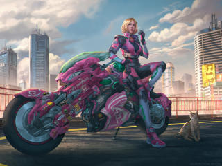 Motorcycle Cyberpunk Girl wallpaper