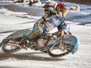 motorcycle, race, snow wallpaper