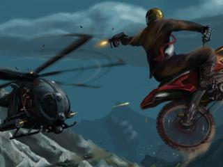 motorcyclist, jump, helicopter wallpaper