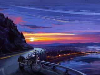Motorcyle Digital Art Sunset wallpaper