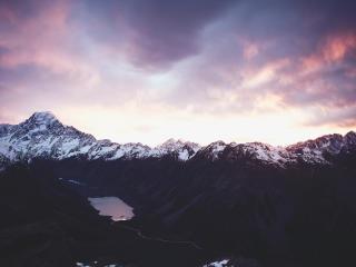 mountain, lake, distance wallpaper