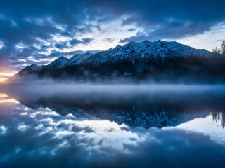 Mountain Reflection on Lake Side wallpaper