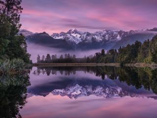 Mountain Reflection Over Lake in Dawn wallpaper