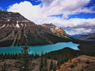 mountain, river, sky wallpaper
