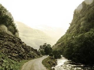 mountain, road, river wallpaper